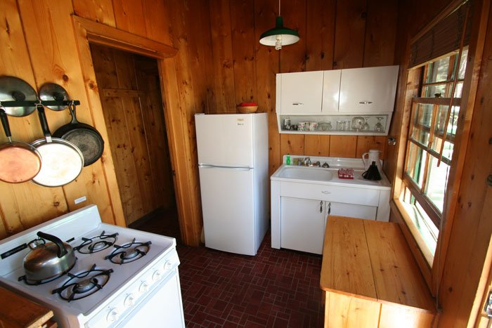 A kitchen in a cabin