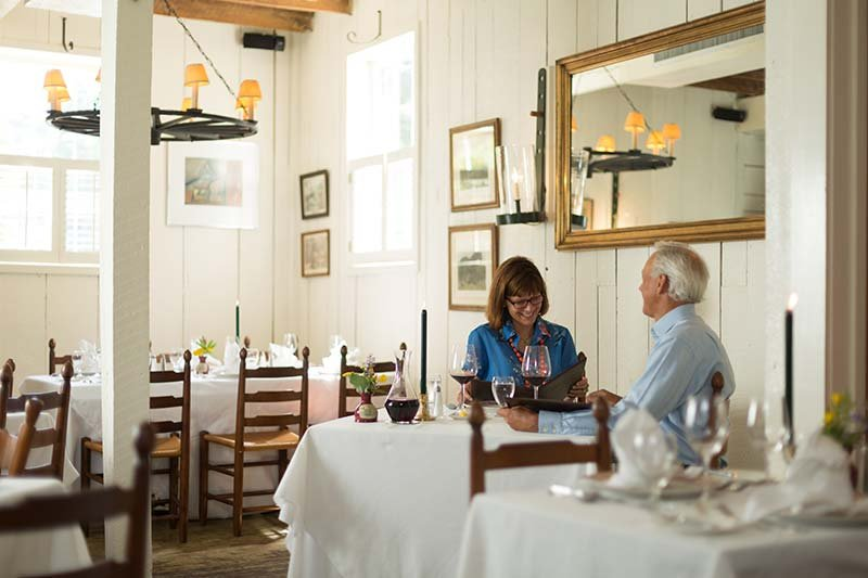Dining at Gristmill Square in Warm Springs, Virginia