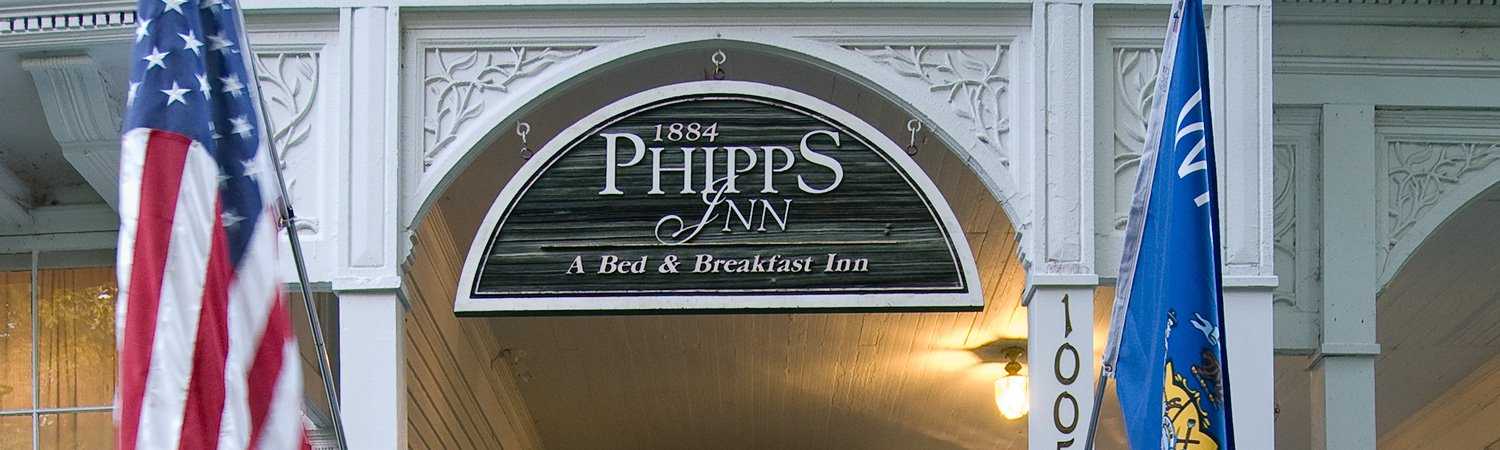 Entrance under a sign reading Phipps Inn A Bed & Breakfast Inn