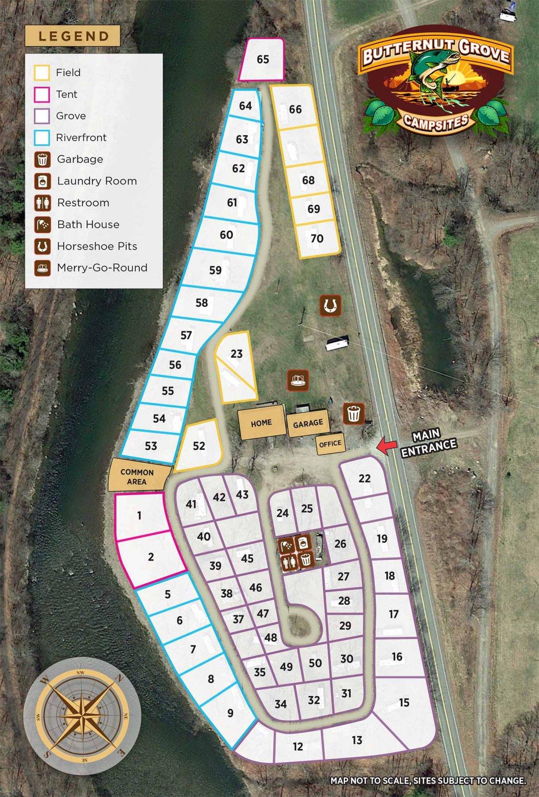 Butternut Grove Campsites RV Park Map