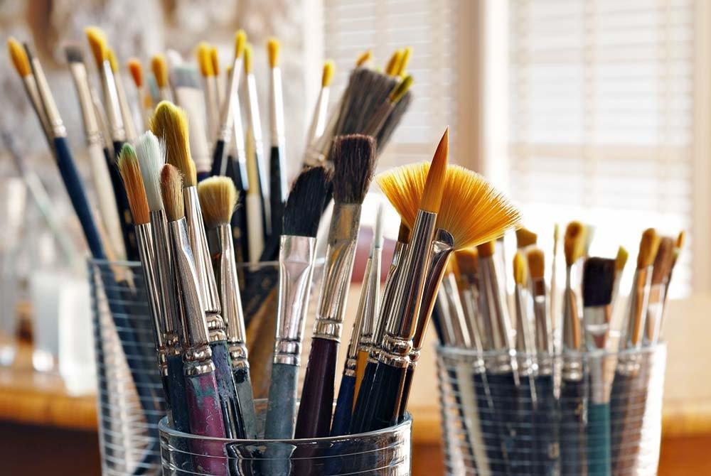 Jars of Paintbrushes