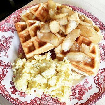 waffles with warm apple compote