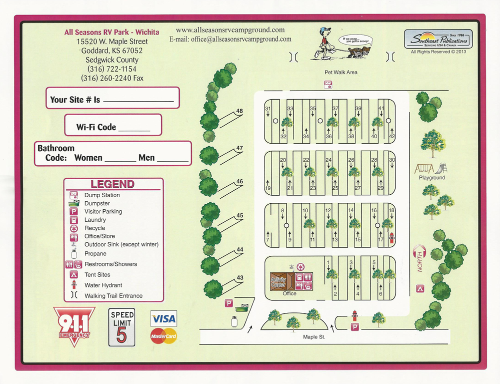 All Seasons Rv >> Campground Map Wichita Camping All Seasons Rv Park