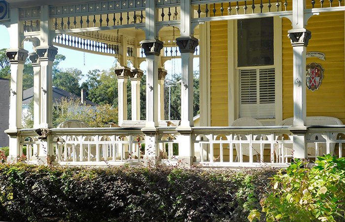 A wraparound porch