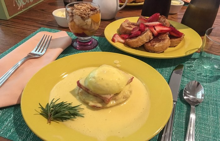Eggs Benedict and French Toast St Francis Cottage