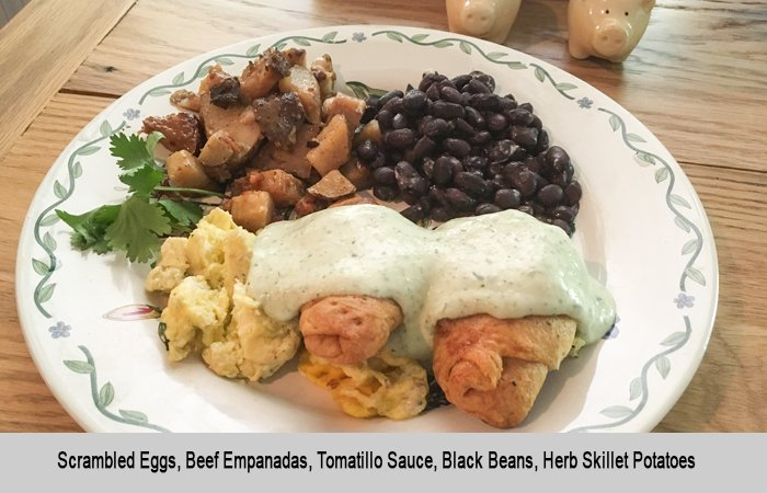 Eggs with Empanadas and Tomatillo Sauce