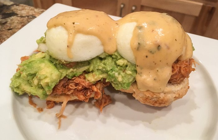 Country Eggs Benedict with Guacamole Shredded BBQ Chicken