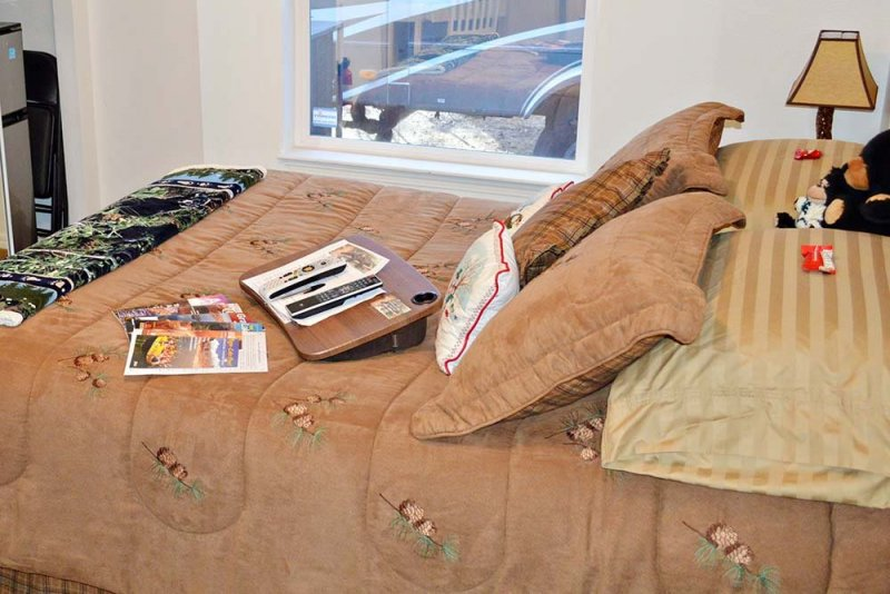 Bed with tan covers
