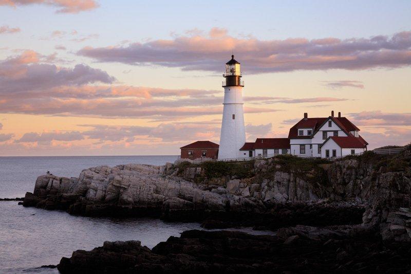A lighthouse on a rocky shore