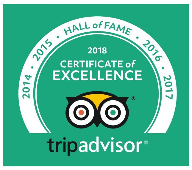 Hall of Fame and Certifcate of Excellence for 8 Consecutive Years at Yellowstone Basin Inn