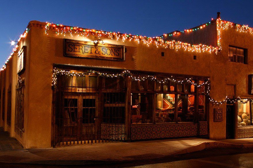 Seret & Sons storefront with holiday lights