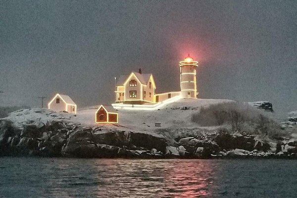 Haven by the Sea Attractions Nubble lighthouse night in the snow