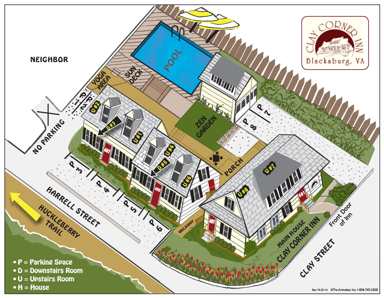 House map of Clay Corner Inn in Blacksburg, VA