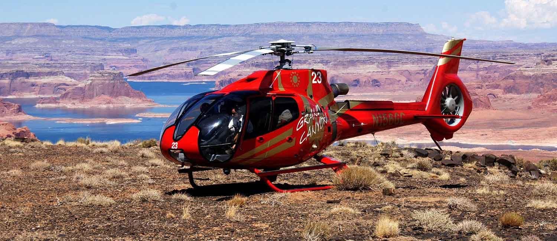 helicopter overlooking Lake Powell