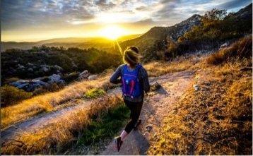 A woman trail running