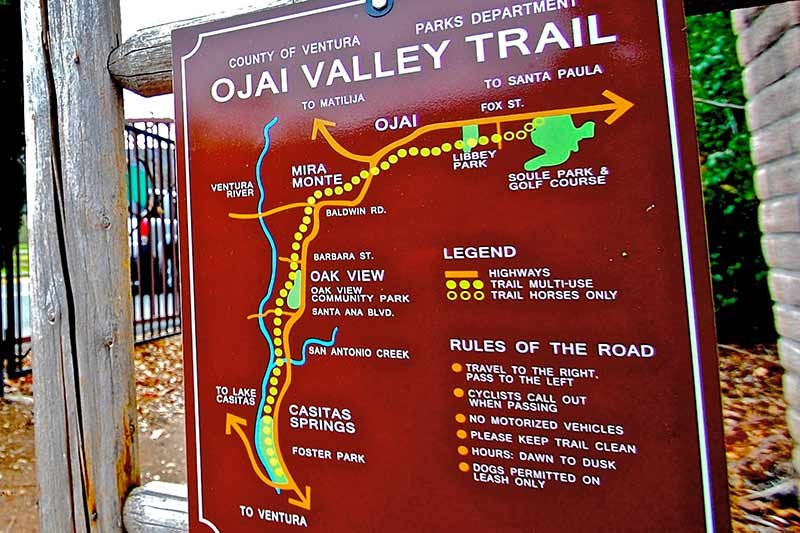 An outdoor map of the local trail systems