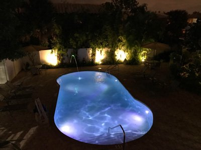Hotel Seacrest outdoor pool at night