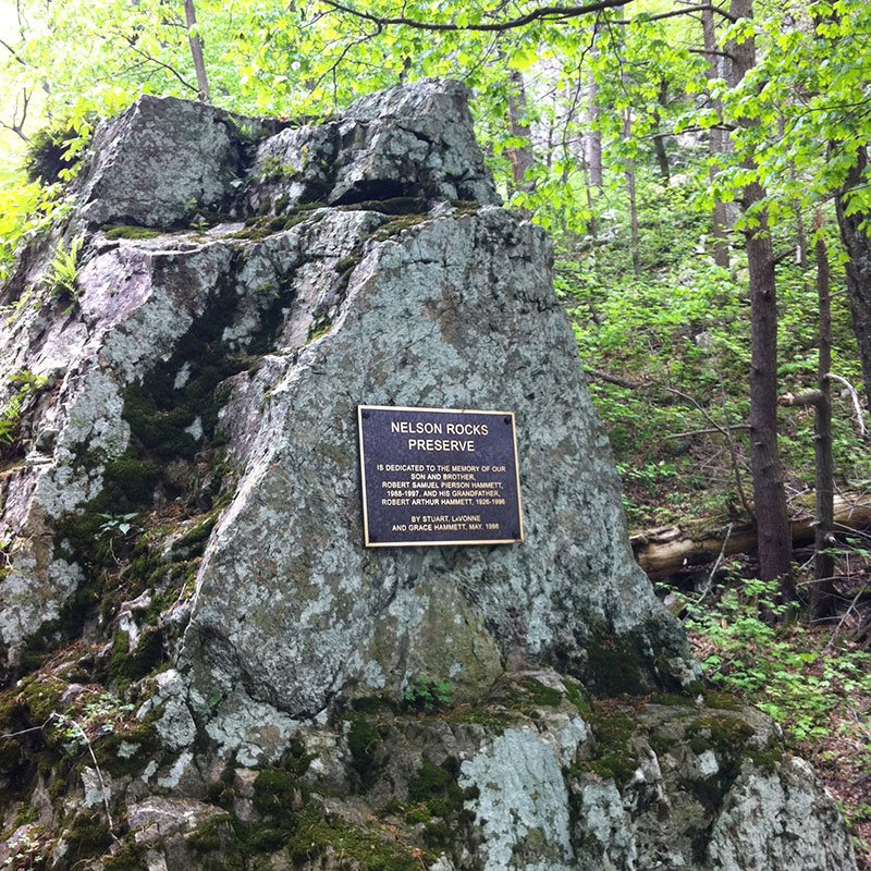 Nelson Rocks Preserve plaque mounted to stone