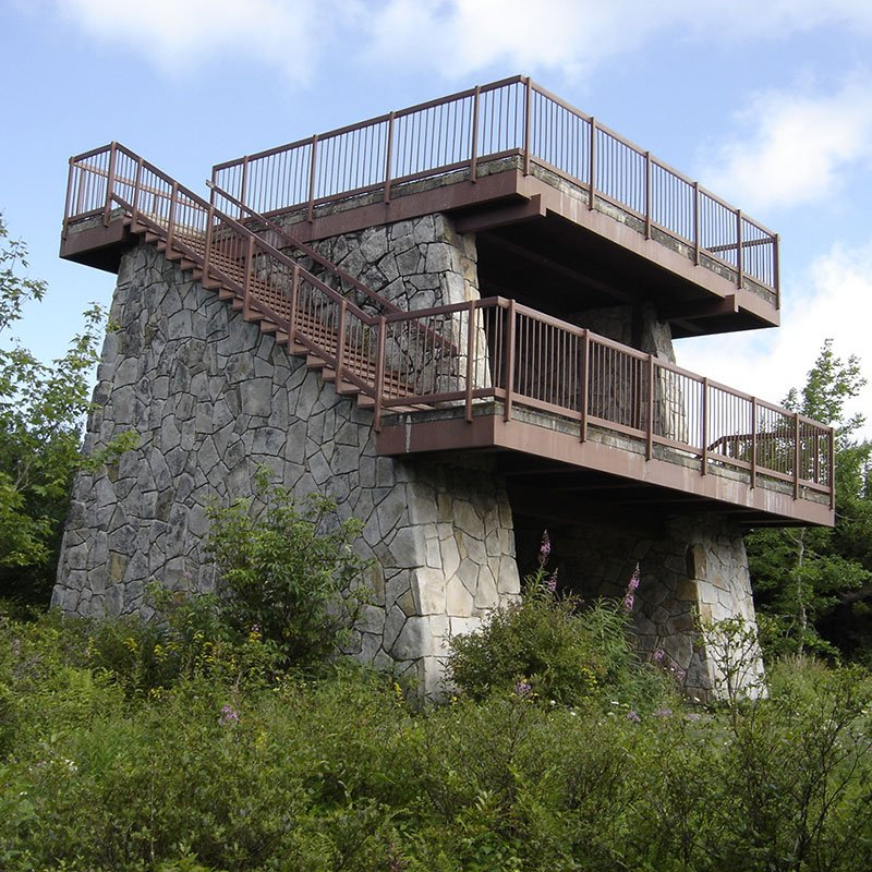 Stone tower with metal stairs
