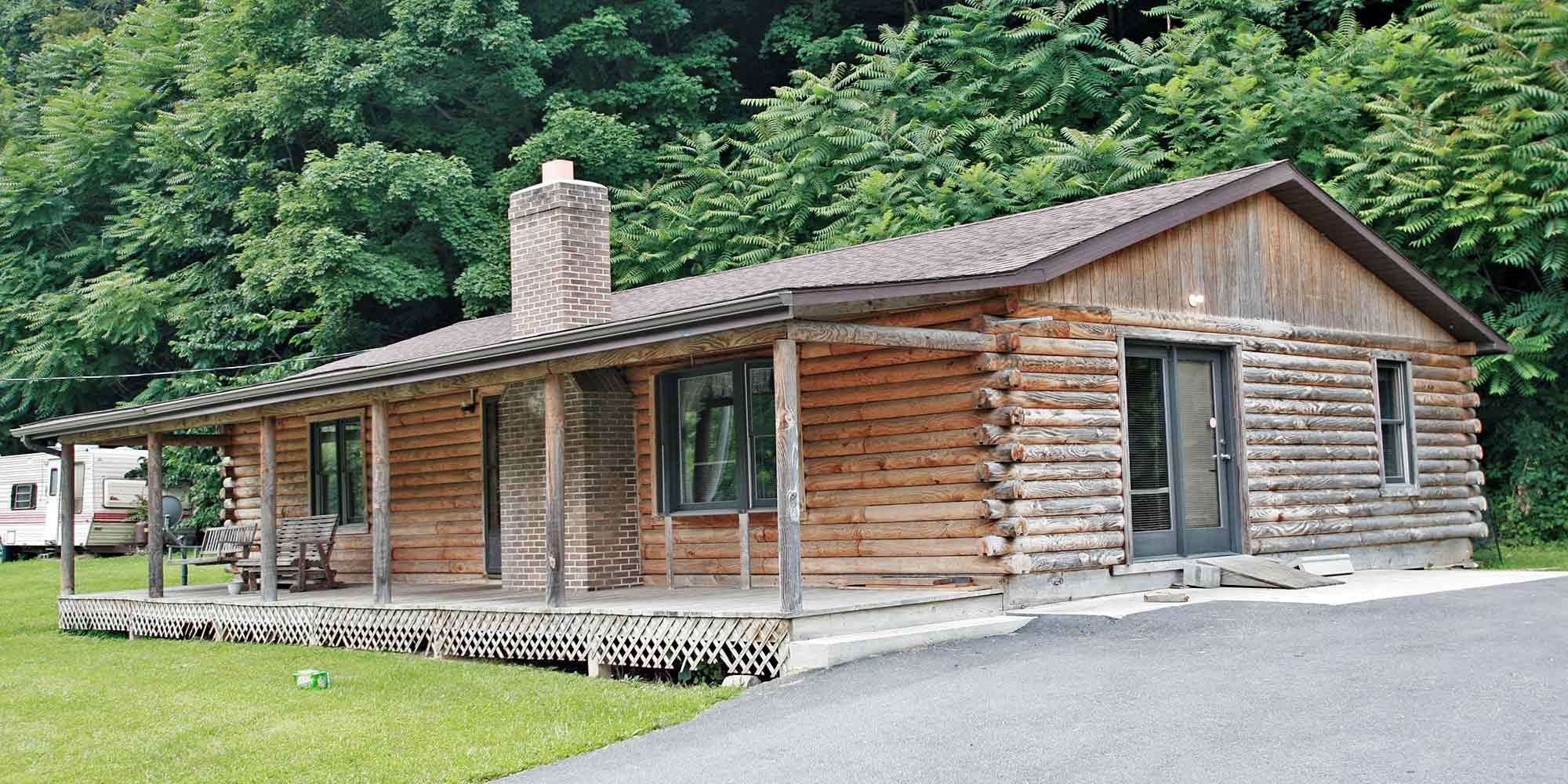 Log cabin with covered porch