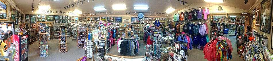 Panoramic view of gift shop interior