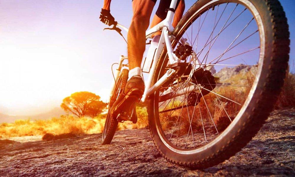 A man on a mountain bike