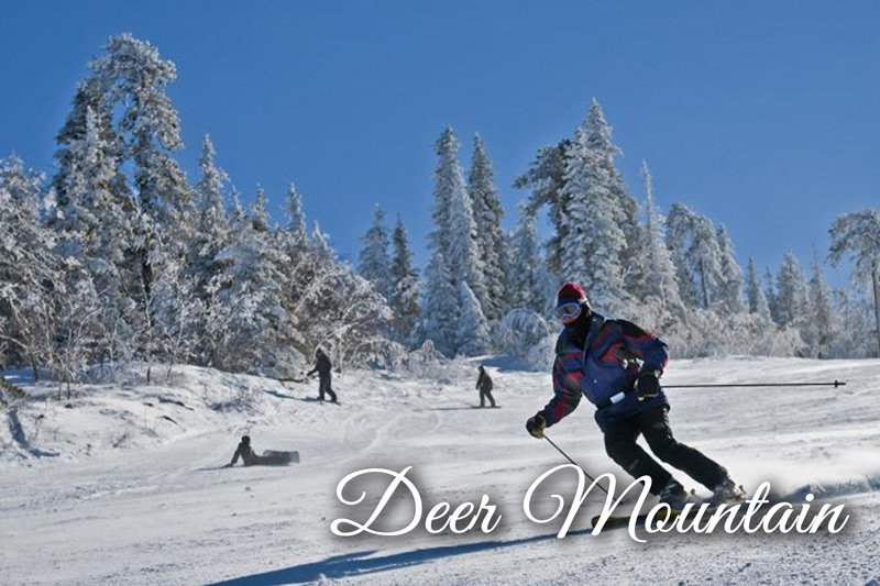 Skiing down Deer Mountain