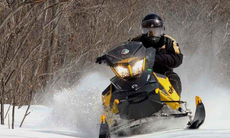 guy on snowmobile