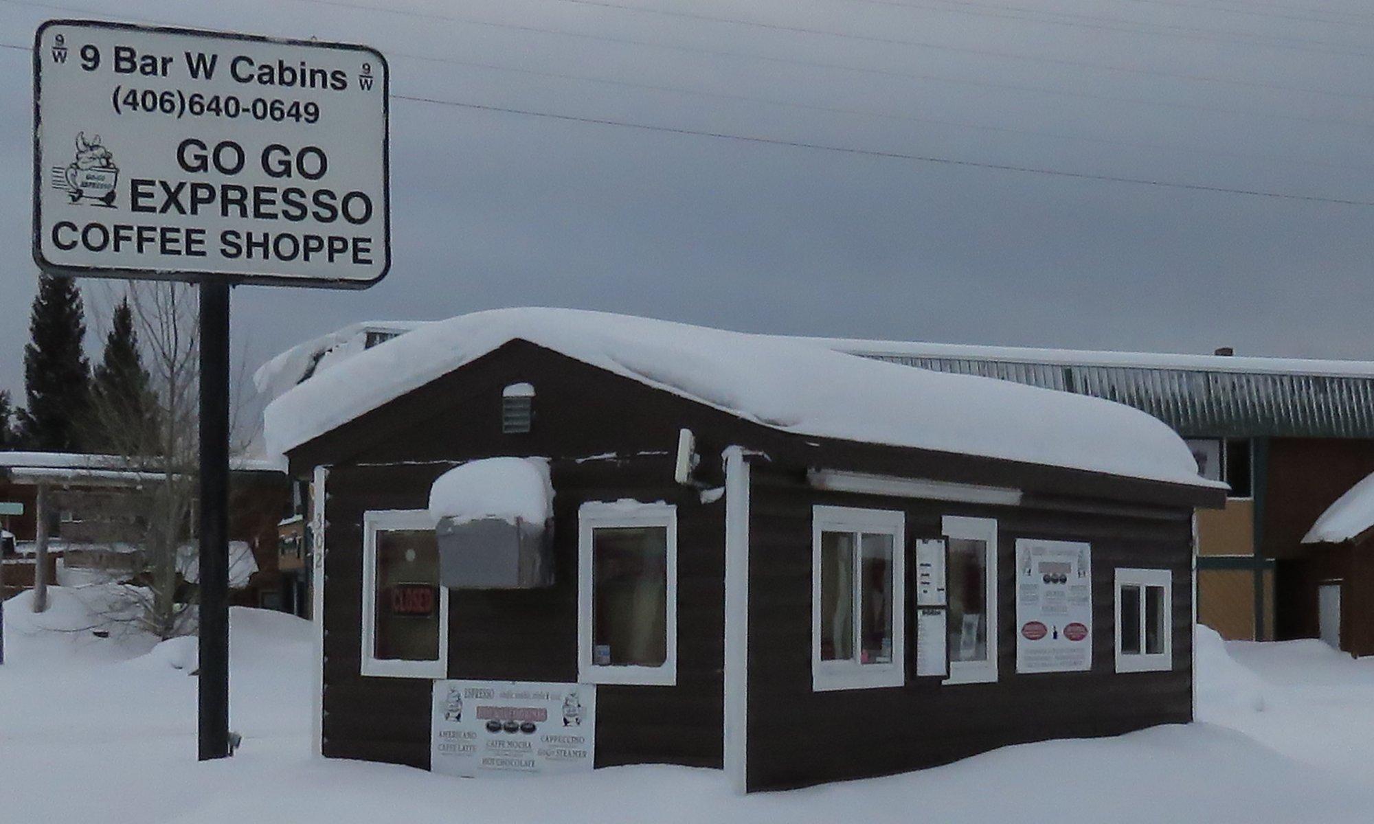 Go Go Expresso Coffee Shoppe Sign and Shack