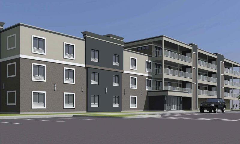 Souris Hotel exterior digital rendering