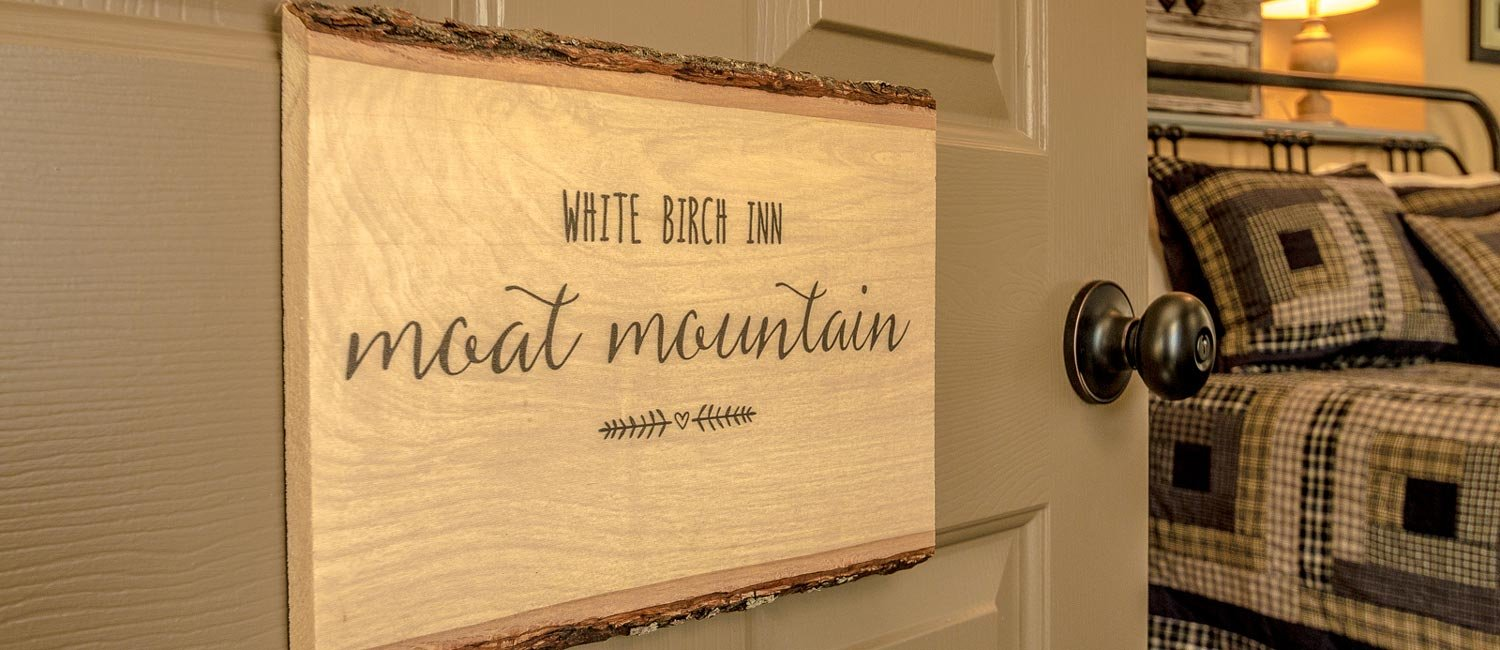 White Birch Inn Moat Mountain Room sign on door