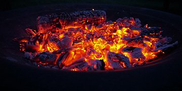 fire pit with coals