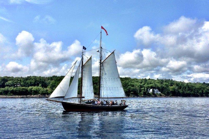 Scooner at sail