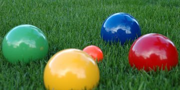 Bocce balls on the grass