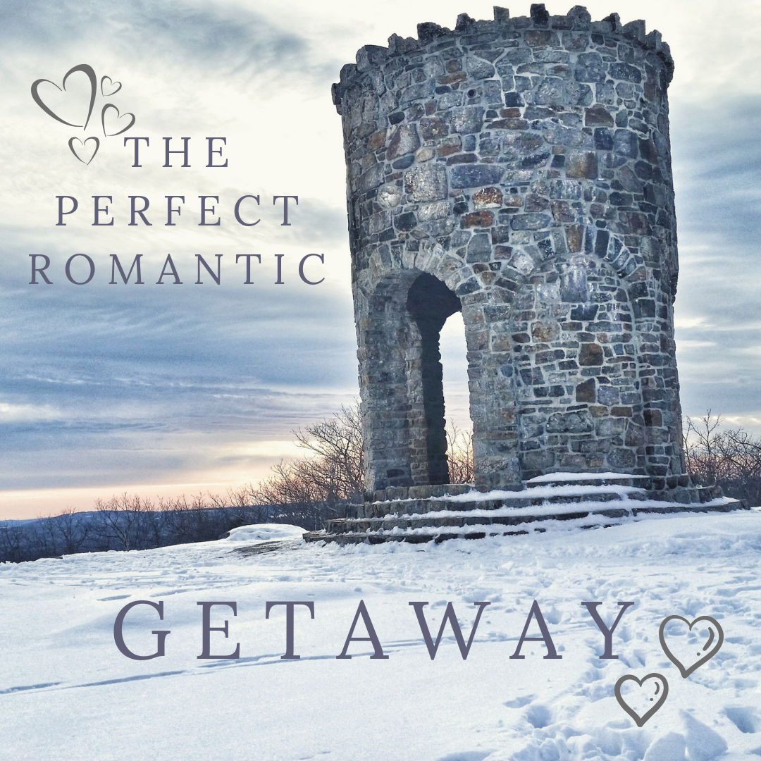 castle tower with words the perfect romantic getaway over