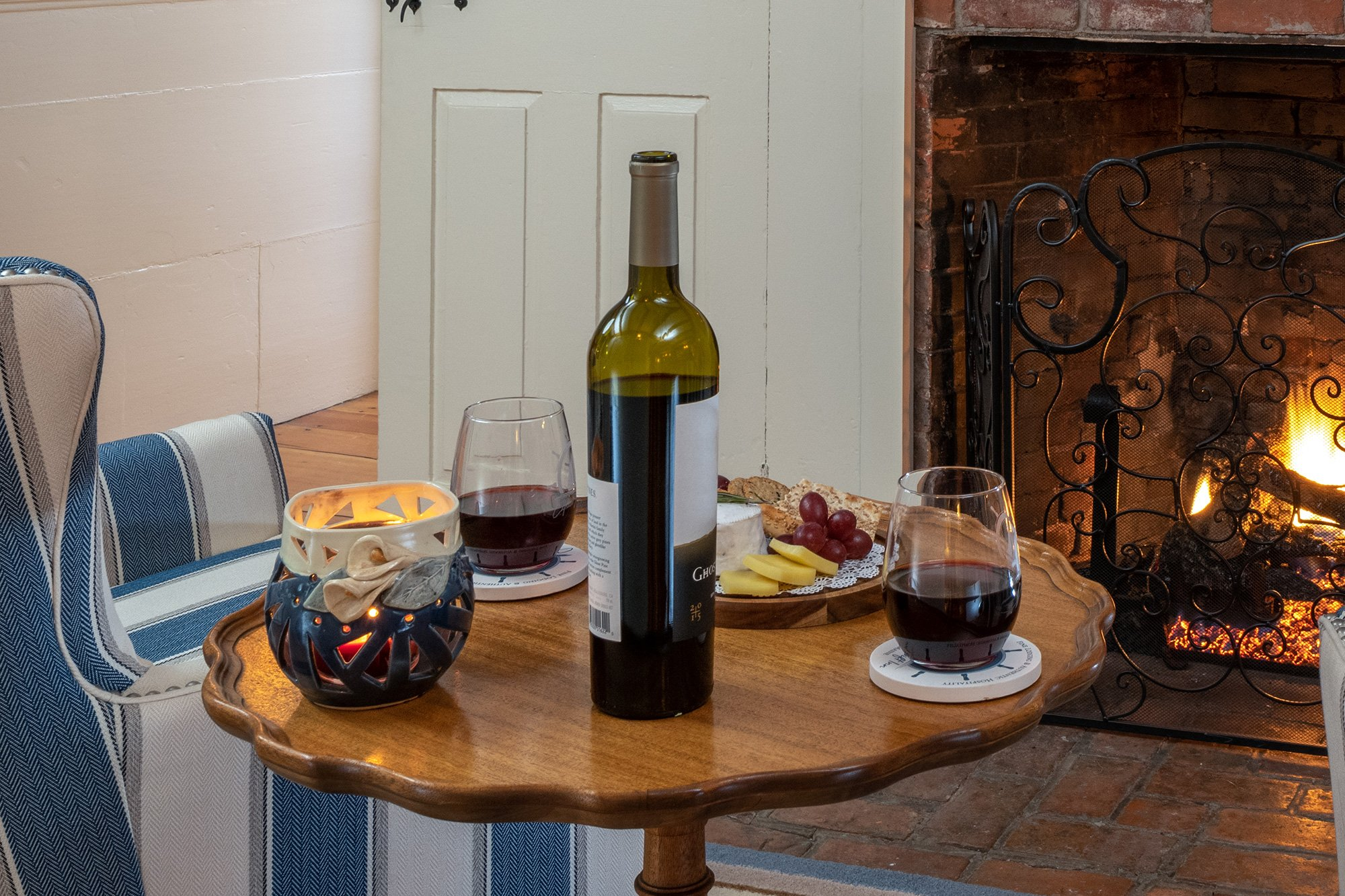 wine on side table