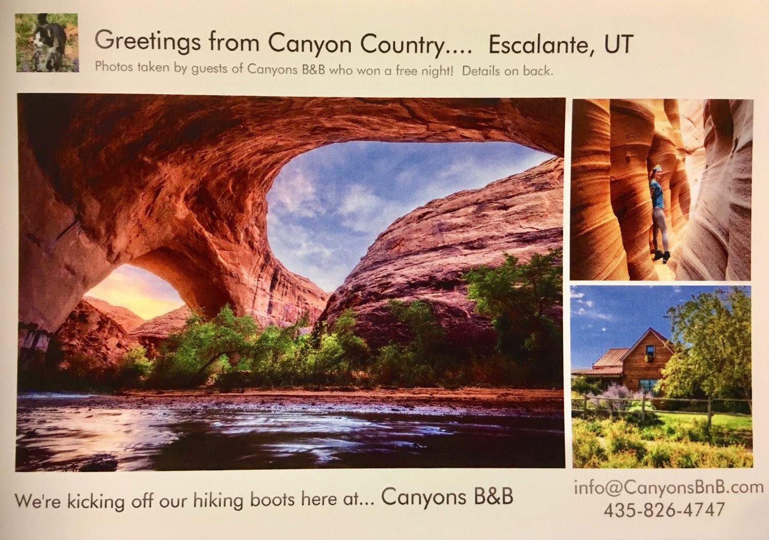 Canyons Bed and Breakfast 2018 Postcard