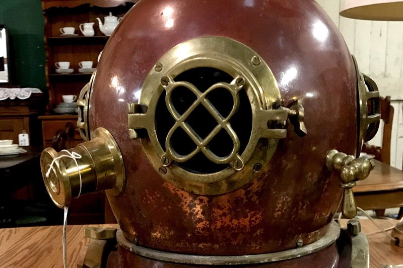 large metal diving helmet