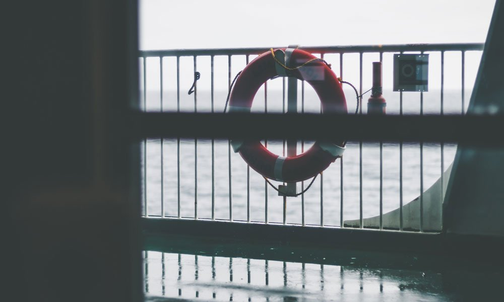 Life preserver on a railing