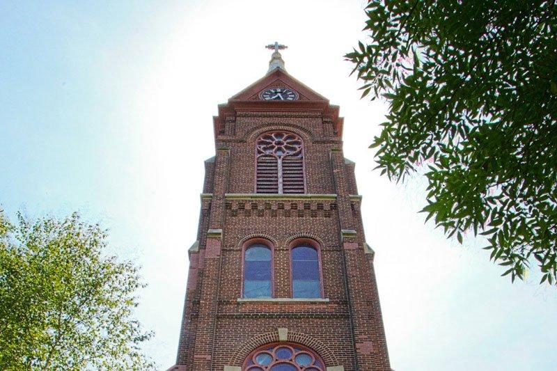 Soaring church tower