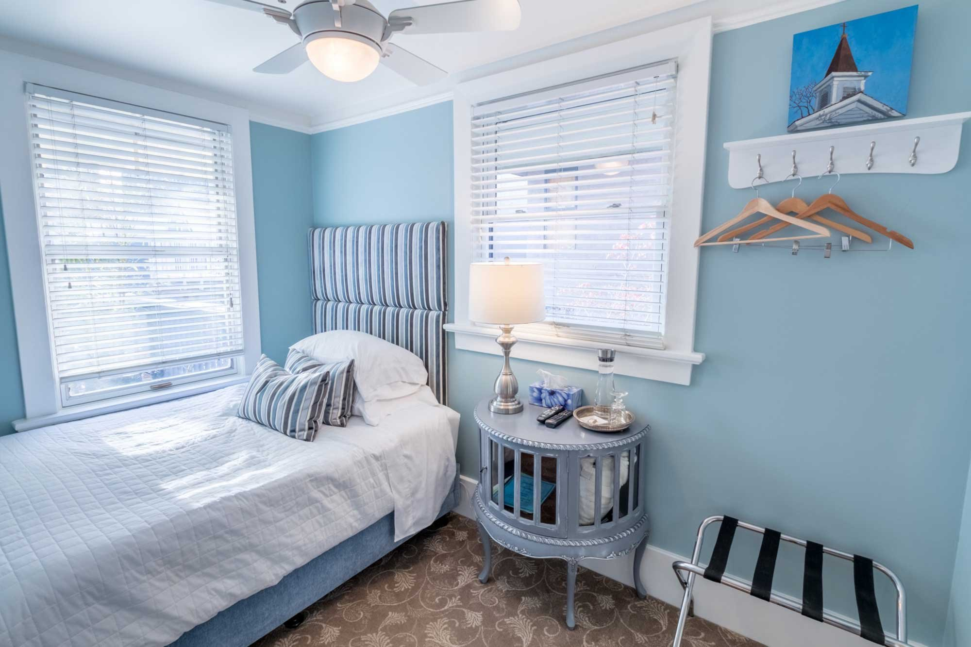 blue-themed bedroom