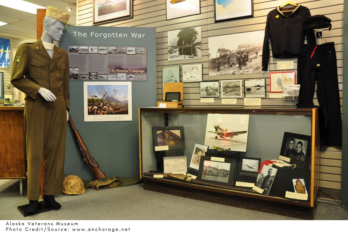 exhibiting soldiers uniforms at the Alaska Veterans Museum