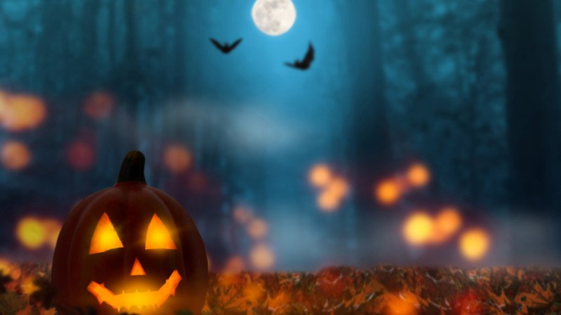 a jack-o-lantern and flying bats under the full moon