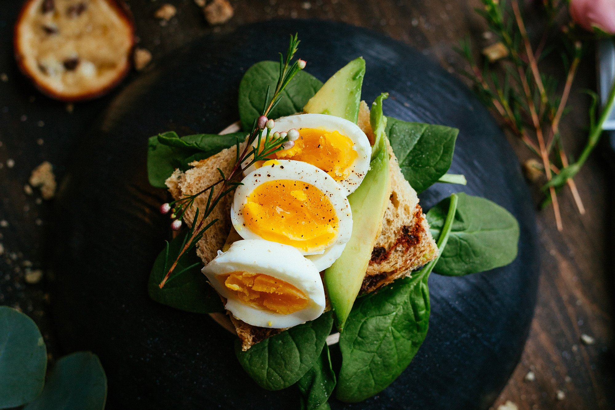 sandwich with soft-boiled eggs