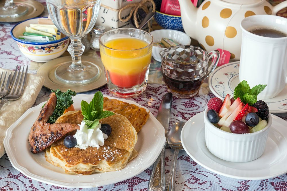 blueberry buttermilk pancakes table setting