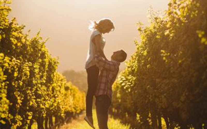 Man lifting woman between tree rows
