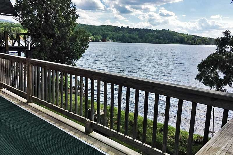 view of lake from the deck
