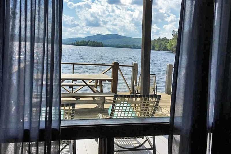 looking through window at lake