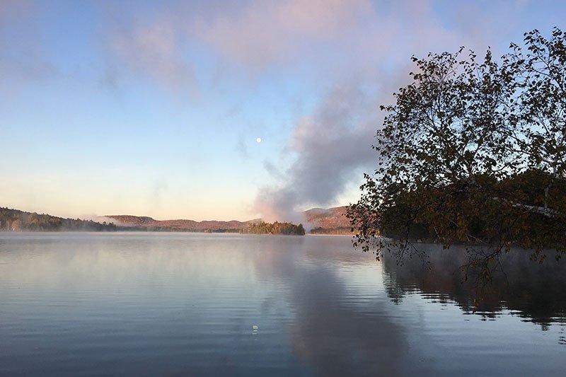 setting sun over the lake