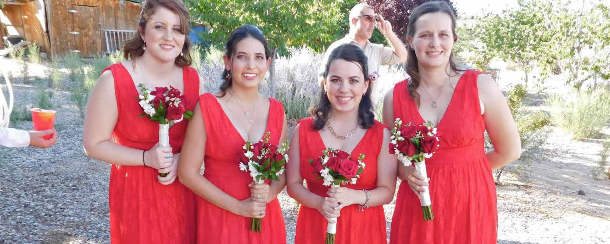 Bridesmaids in Red Dresses